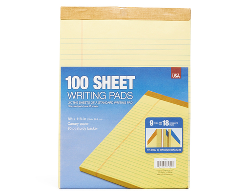 Tops Writing Legal Pads, 9 Count, 100 Sheets Each
