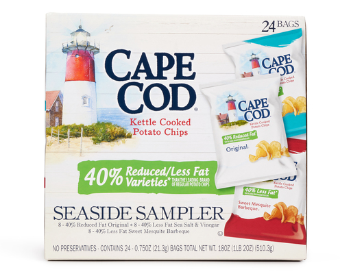 Cape Cod Kettle Potato Chips, 24 ct, Reduced Fat Variety Pack
