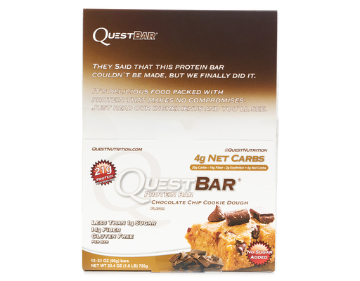 Quest Bar Protein Bars, 12 X 2.1oz Bars, Chocolate Chip Cookie Do ...