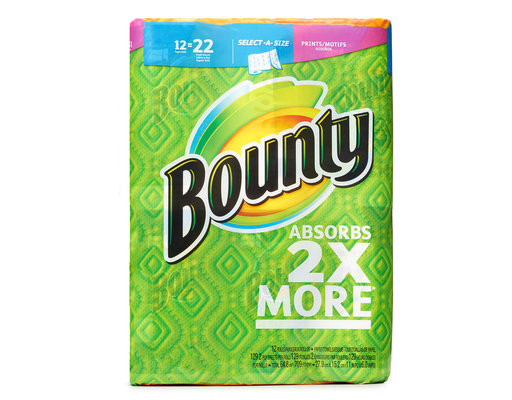 Bounty Paper Towels, 12 Super Rolls, Select-A-Size, Printed, 2-Ply