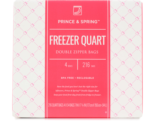 Zipper Freezer Bags, 216ct By Prince & Spring