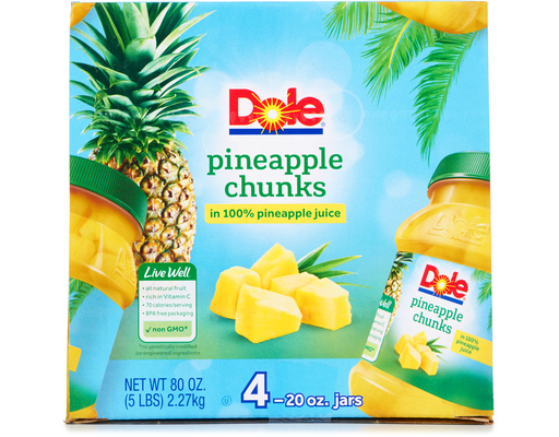 Dole Pineapple Chunks, 80oz