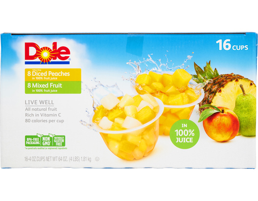 Dole Diced Peaches + Mixed Fruit, 16 Cups