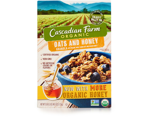 Cascadian Farms Organic Granola, 48.5oz Box, Oats & Honey