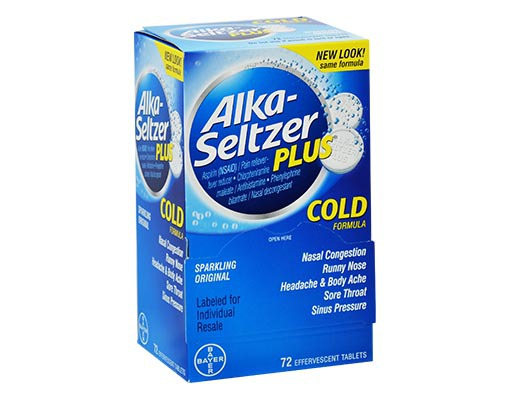 alka seltzer 72 tablets plus cold formula boxed