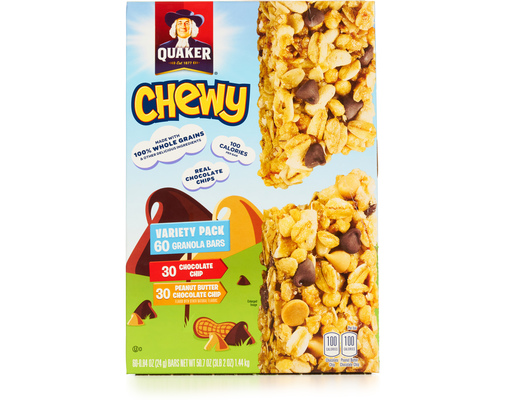Quaker Chewy Bars 60 Count - Variety Pack | Boxed Quaker Chewy Logo