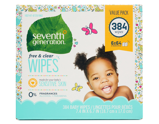 Seventh Generation Baby Wipes, 384ct