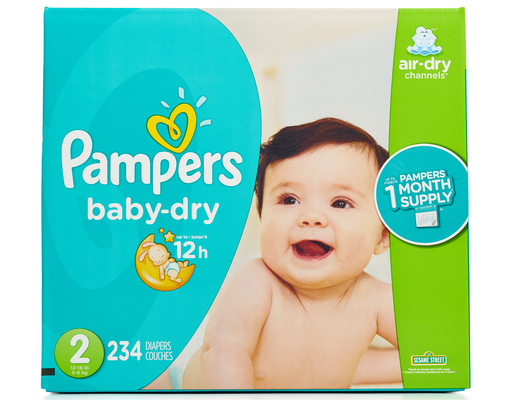 Pampers Baby Dry Diapers 234 Ct Size 2 Boxed