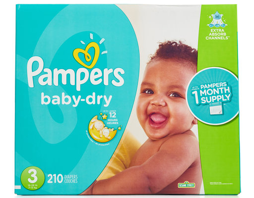 Pampers Baby Dry Diapers 210 Ct Size 3 Boxed